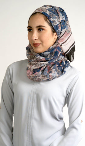 Floral Print Non slip Wrap Hijab Scarf - Blue Pink and Black