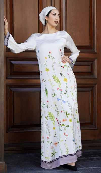 Flowers Formal Modest Abaya Dress Kaftan - Pearl