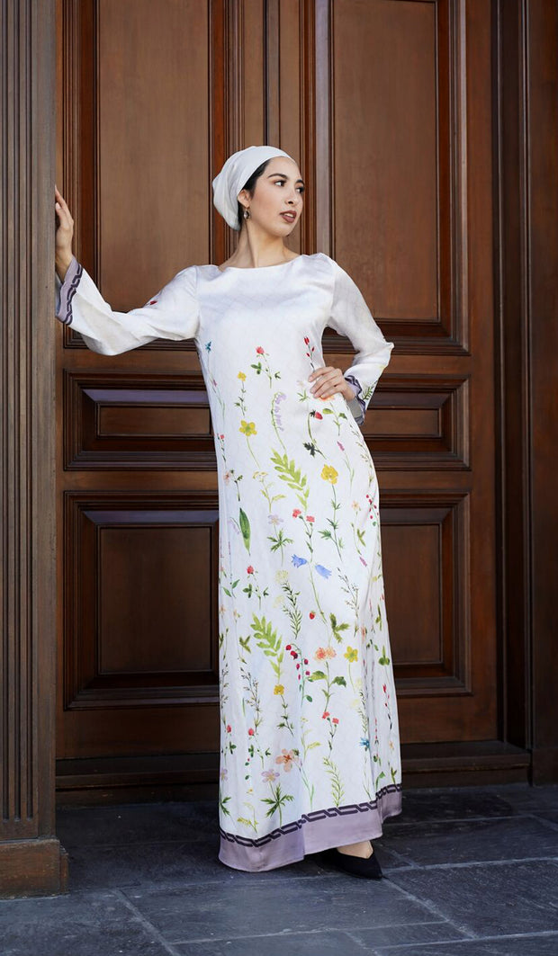 Flowers Formal Modest Maxi Dress Kaftan - Pearl