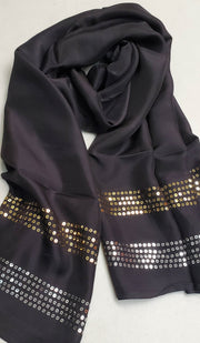 Formal Silk Wrap Hijab Scarf with Sequins - Black