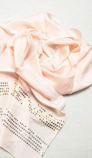 Formal Silk Wrap Hijab with Sequins - Blush