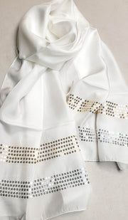 Formal Silk Wrap Hijab Scarf with Sequins - Off White