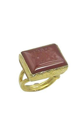 GOLDPLATED STERLING SILVER AND HAND ENGRAVED AQEEQ MOHAMMED RING