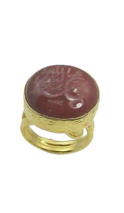 "Goldplated Sterling Silver and Hand Engraved Aqeeq ""Mohammed"" Ring (Medium)"