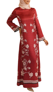 Garden Formal Modest Maxi Dress Kaftan - Ruby