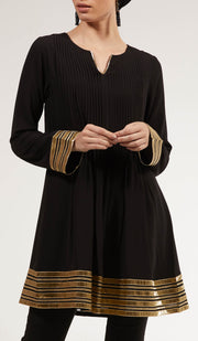 Gold Embellished Long Modest Tunic - Black