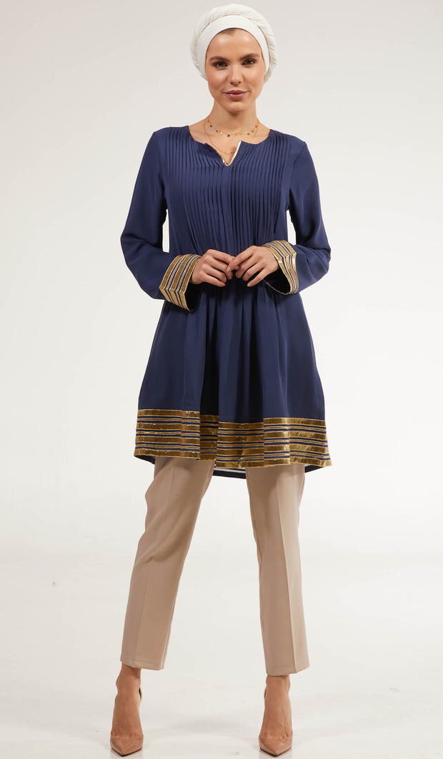 Gold Embellished Long Modest Tunic - Ocean Blue