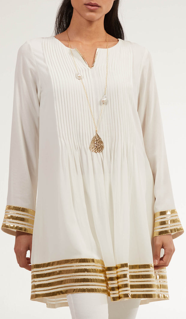 Gold Embellished Long Modest Tunic - Off White