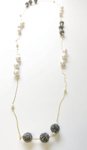 Goldplated Sterling Silver and Freshwater Pearl Long Necklace - Gray and White