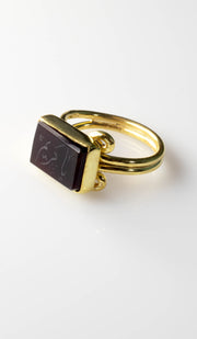Goldplated Silver with Hand Engraved Aqeeq 99 Names Ring