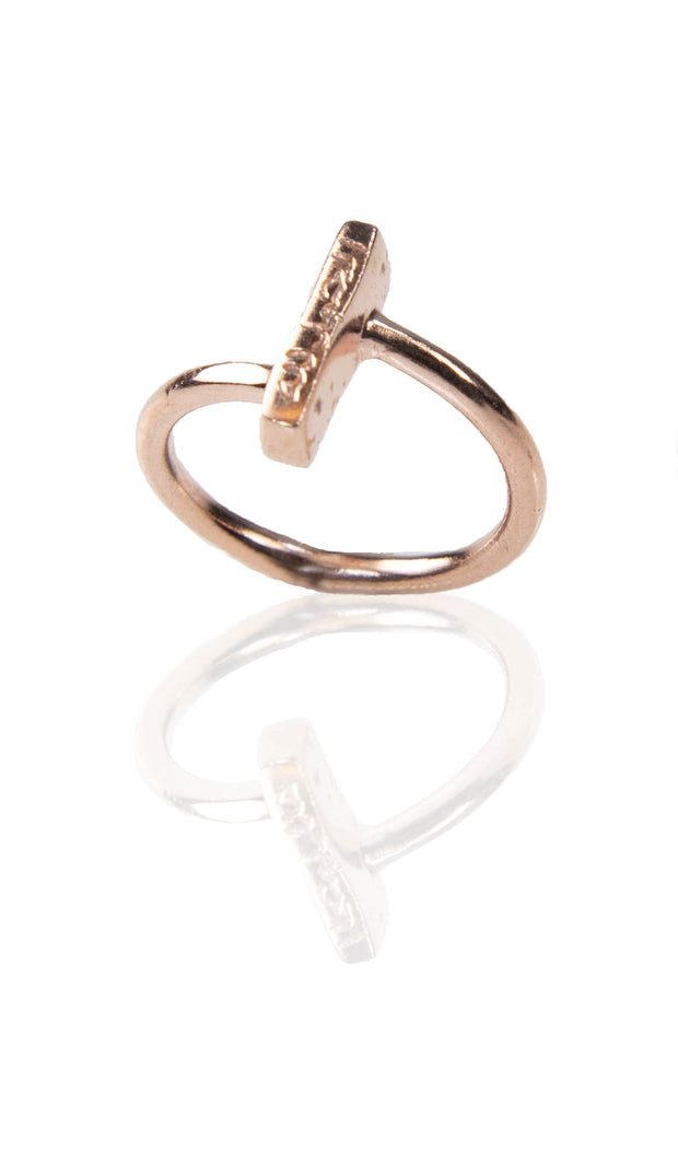Goldplated Sterling Silver Small Alhamdulillah Ring - Rose Gold