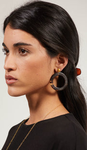 Gold plated Sterling Silver and Tortoise Shell Evil Eye Arabic Earrings