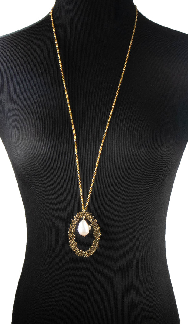 Goldplated Sterling Silver and Baroque Pearl Evil Eye Necklace