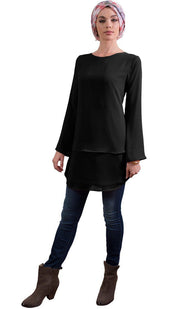 Grace Tiered Chiffon Tunic Dress - Black