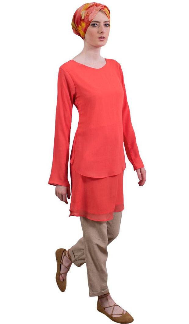 Grace Tiered Chiffon Tunic Dress - Coral - ARTIZARA.COM