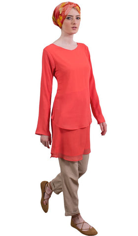 Grace Tiered Chiffon Tunic Dress - Coral