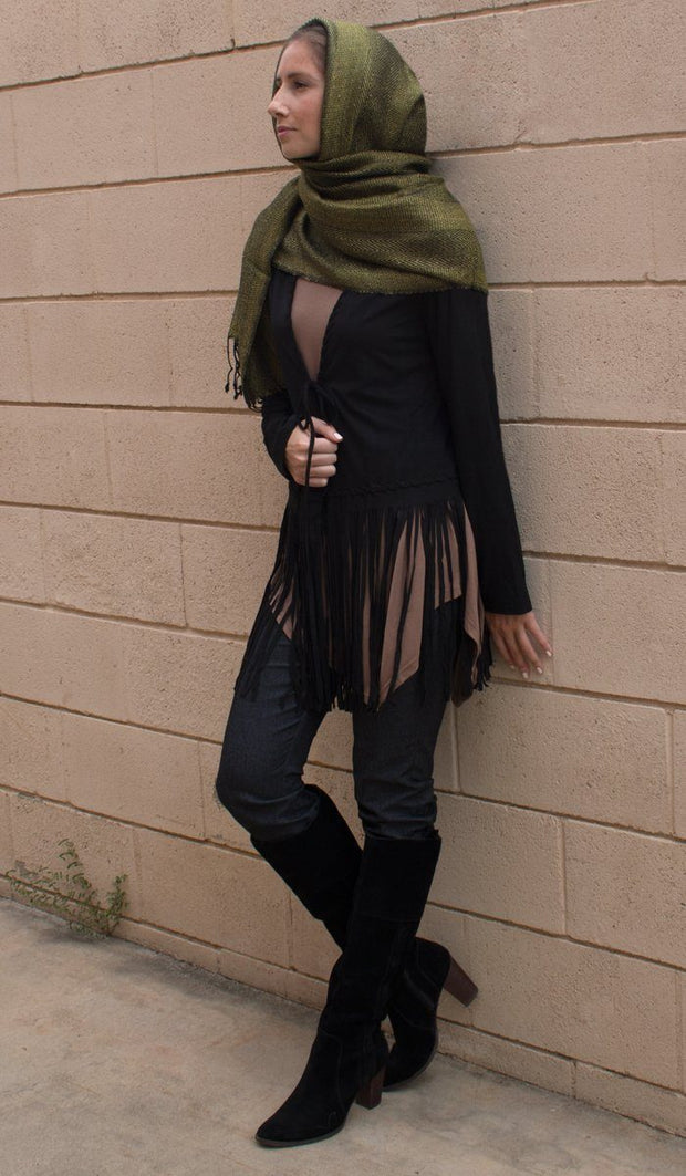 Karin Faux Suede Light Long Fringed Jacket - Black