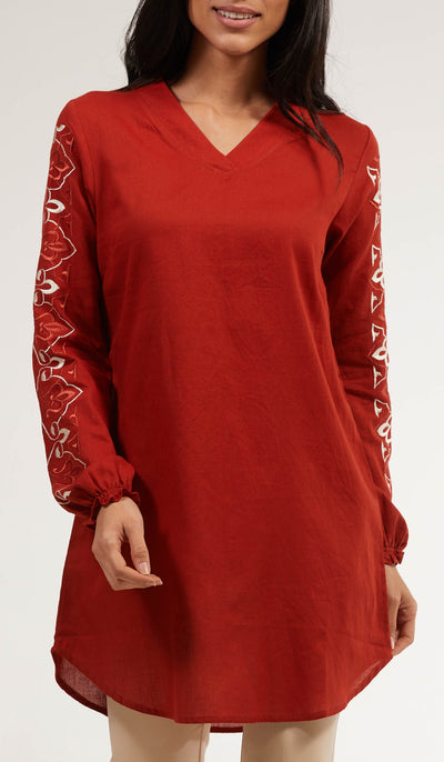 Gulrez Embroidered Long Modest Tunic - Russett