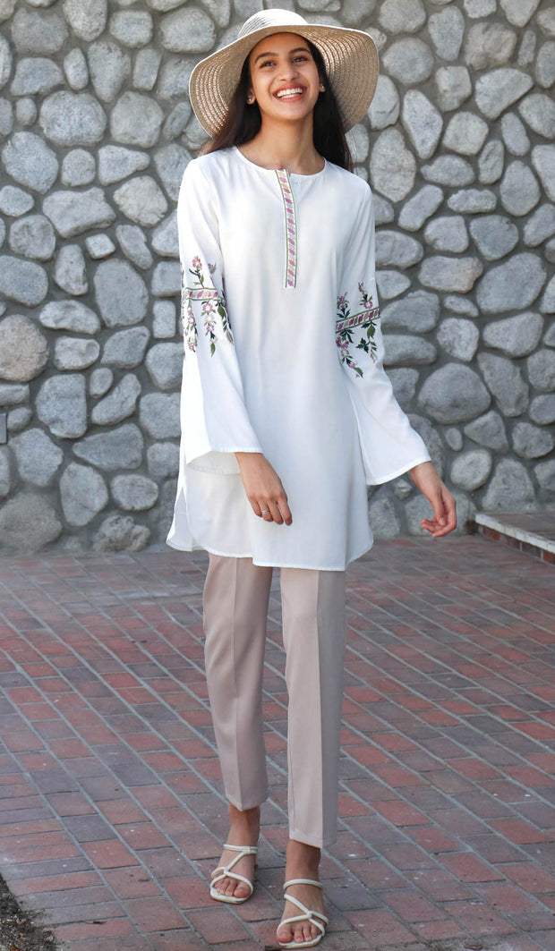 Gulzar Embroidered Long Modest Tunic - White