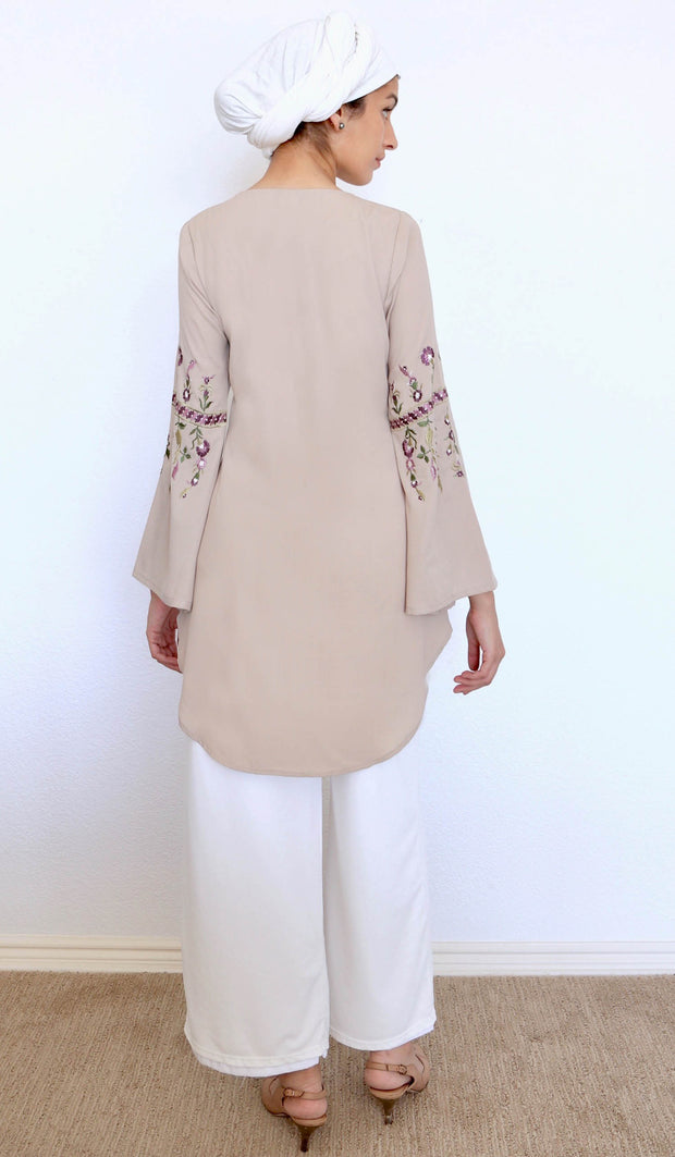 Gulzar Embroidered Long Modest Tunic - Latte