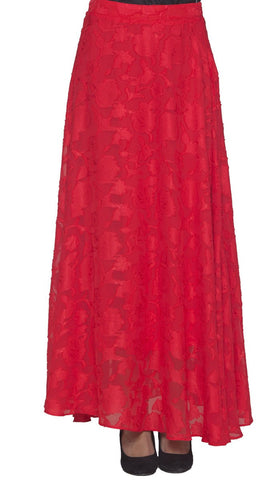 e56408ec60 Hamra Burnout Chiffon Formal Long Maxi Skirt - Red - ARTIZARA.COM