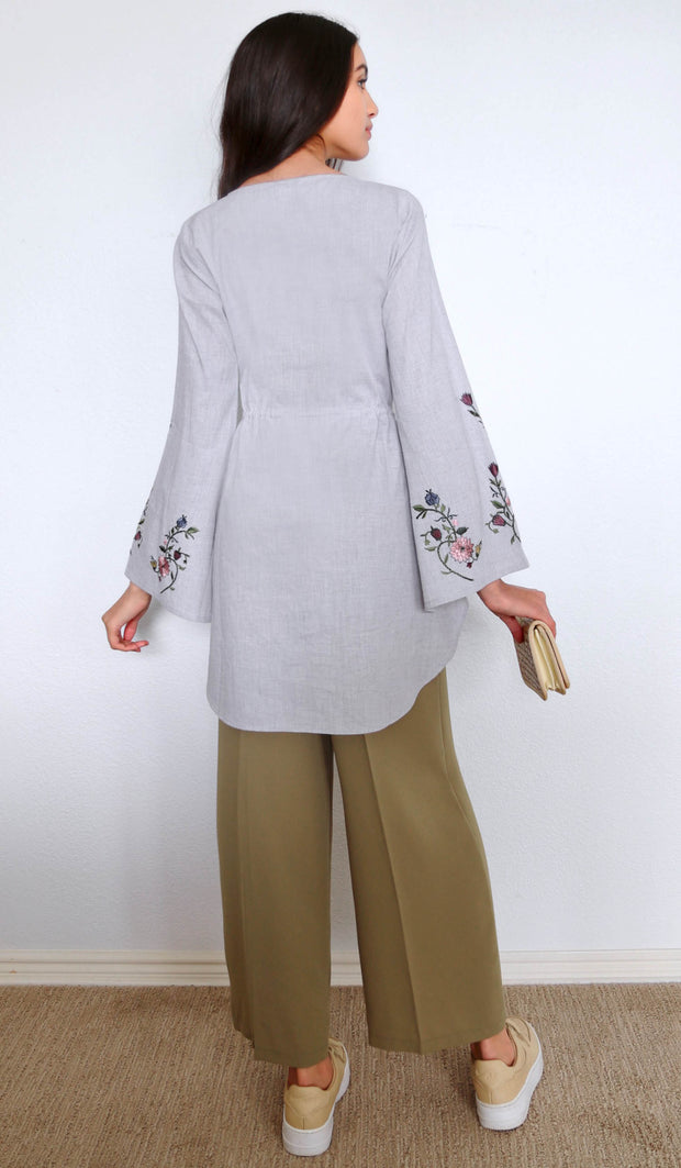 Hadiya Embroidered Cotton Modest Tunic - Smoke