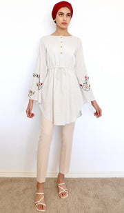 Hadiya Embroidered Cotton Modest Tunic - Cream