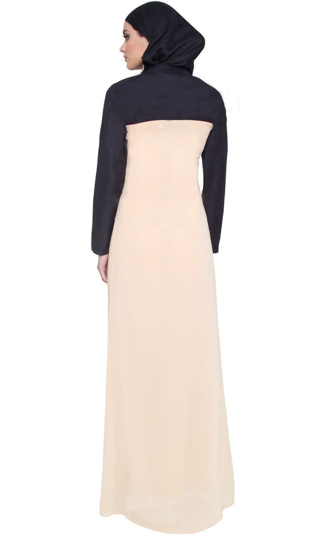 Halia Palestinian Embroidered Long Maxi Dress -Tan - ARTIZARA.COM