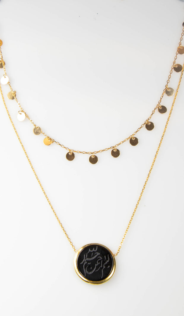 Hand Engraved Black Onyx Double Layered Necklace - Gold plated Sterling Silver