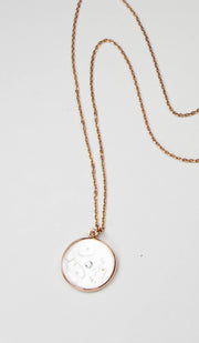 Hand Engraved Mother of Pearl Kun Fayakun Necklace - Rose Goldplated Silver