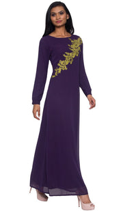 Hanna Embroidered Modest Muslim Evening Dress - Dark Purple