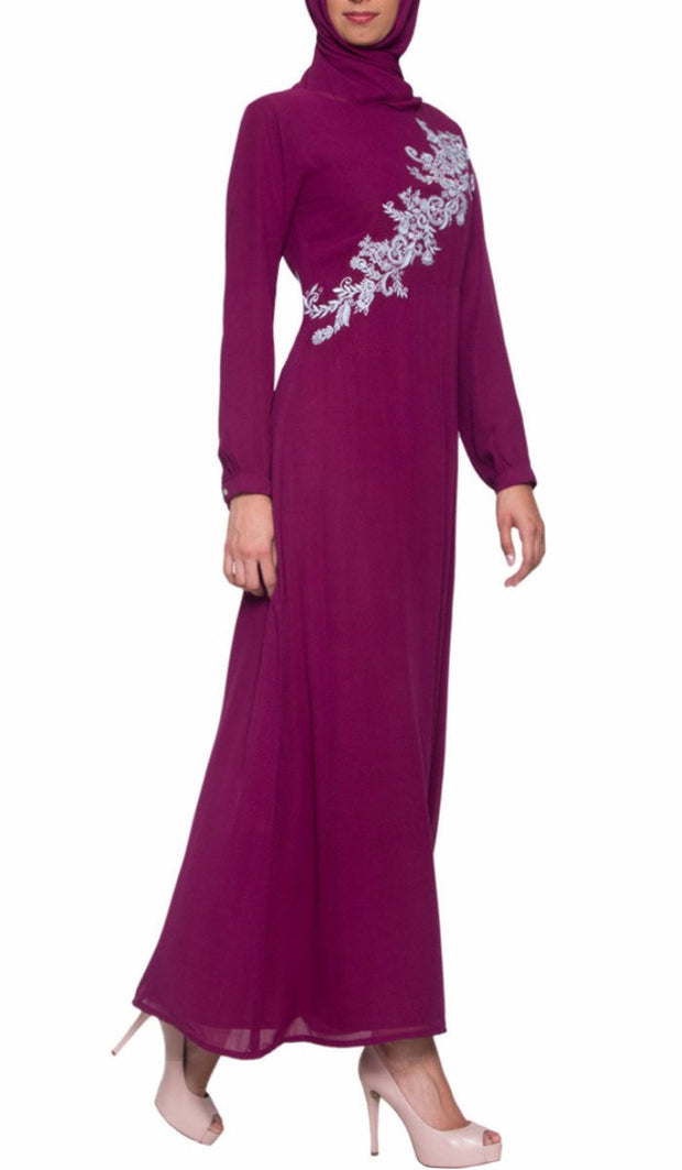 Hanna Embroidered Modest Muslim Evening Dress - Purple Orchid