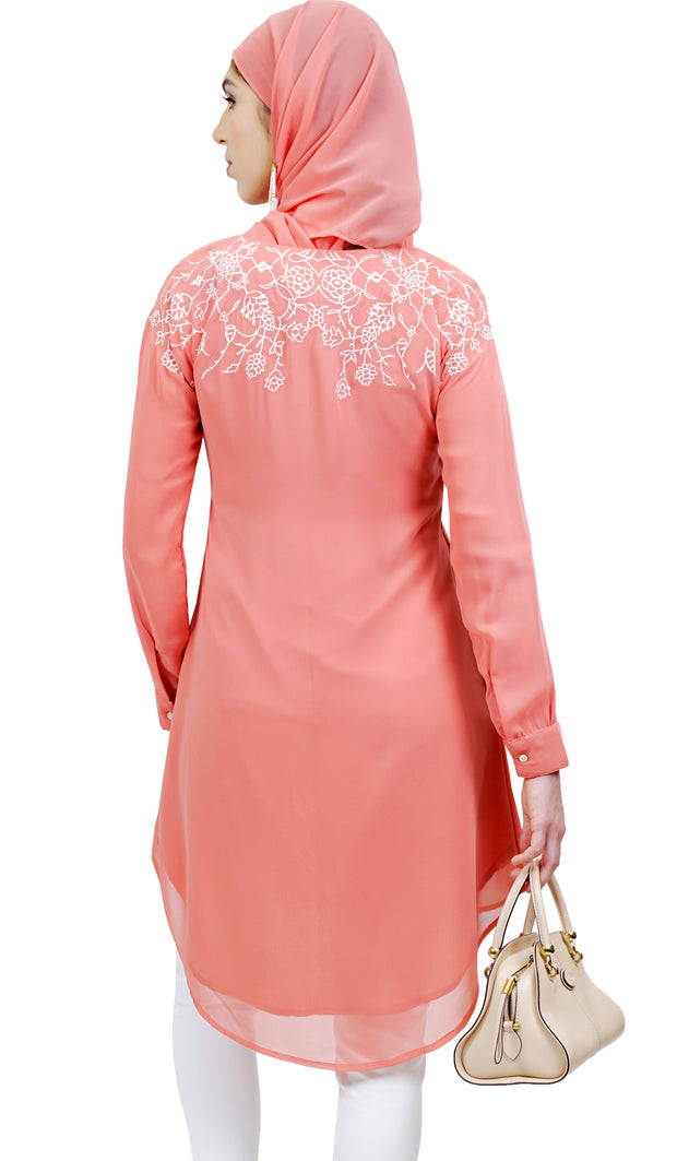 Hanna Embroidered Formal Long Modest Tunic - Coral Pink