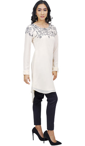 Hanna Embroidered Formal Long Modest Tunic - Off white