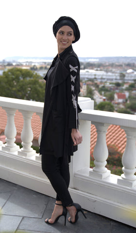 Haseen Long Chiffon Modest Tunic - Black