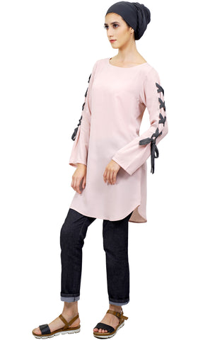 Haseen Long Chiffon Modest Tunic - Dusty Pink