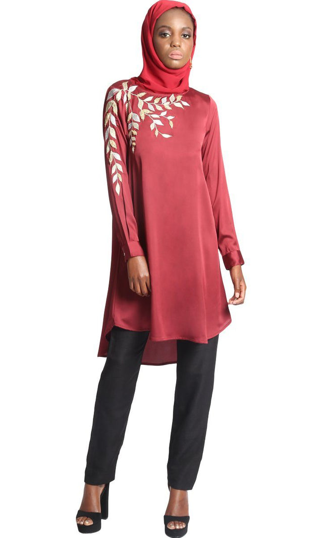 Hawa Embroidered Formal Long Modest Tunic - Maroon