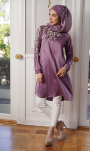 Hawa Formal Embroidered Modest Long Tunic - Lavender