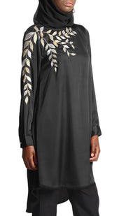 Hawa Embroidered Formal Long Modest Tunic - Black