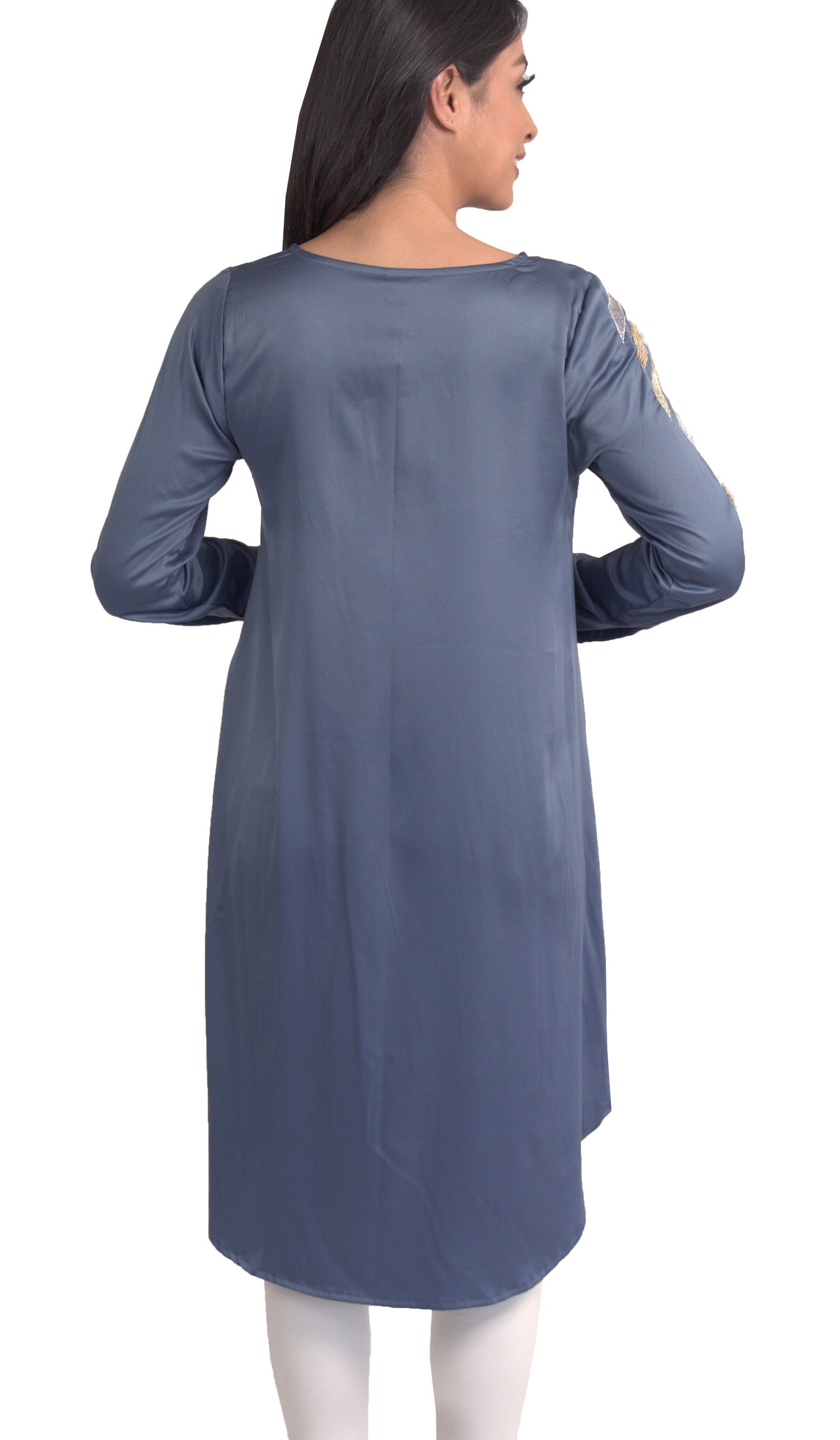 Hawa Formal Embroidered Modest Long Tunic - Blue Shadow