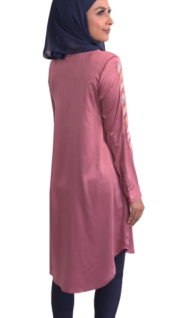 Hawa Formal Embroidered Modest Long Tunic - Rose Pink