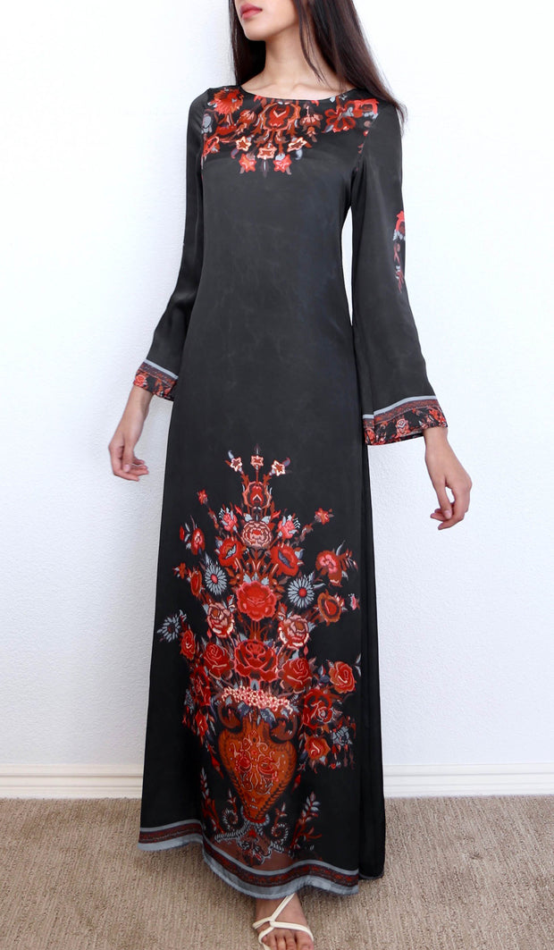 Heart Formal Modest Abaya Dress Kaftan - Black