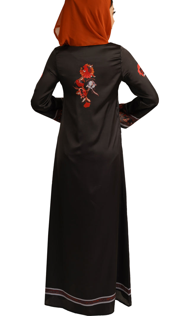 Heart Formal Modest Maxi Dress Kaftan - Black