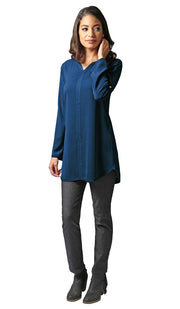 Hena Long Modest Everyday Tunic - Marina Blue - PREORDER
