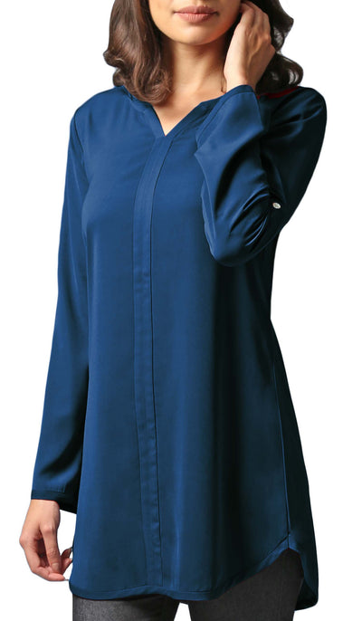 Hena Long Modest Everyday Tunic - Marina Blue