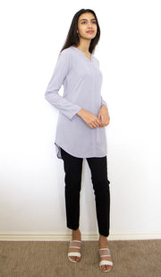Hena Long Modest Everyday Tunic - Silver Mist