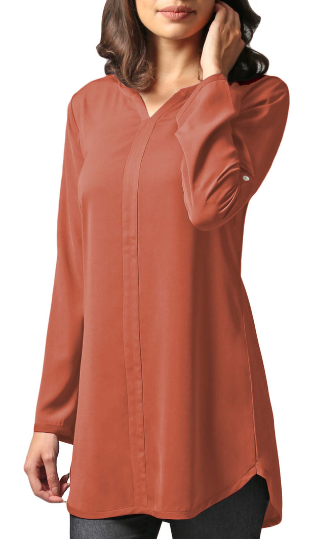 Hena Long Modest Everyday Tunic - Spice