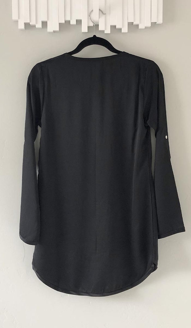 Hena Silky Formal Long Modest Tunic - Black
