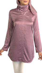 Hena Silky Formal Long Modest Tunic - Lavender