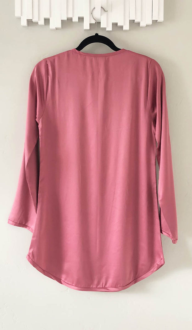Hena Silky Formal Long Modest Tunic - Vintage Rose